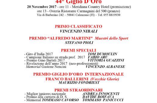 44° Giglio d'Oro a Vincenzo Nibali vincitore per la sesta volta del premio